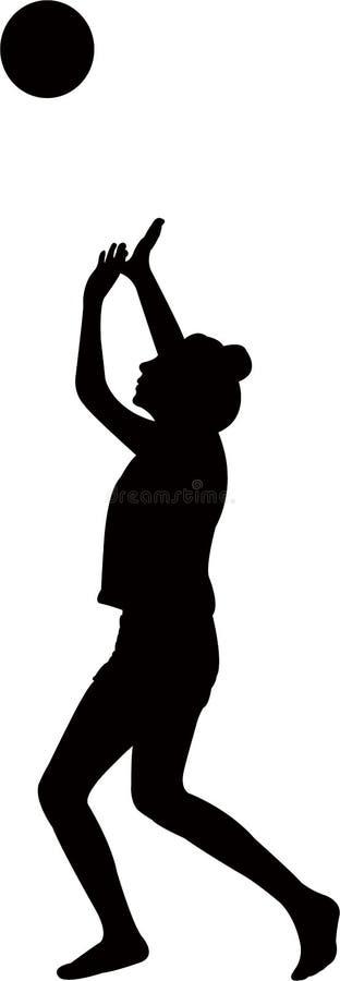 Una ragazza che gioca con la palla, vettore della siluetta royalty illustrazione gratis