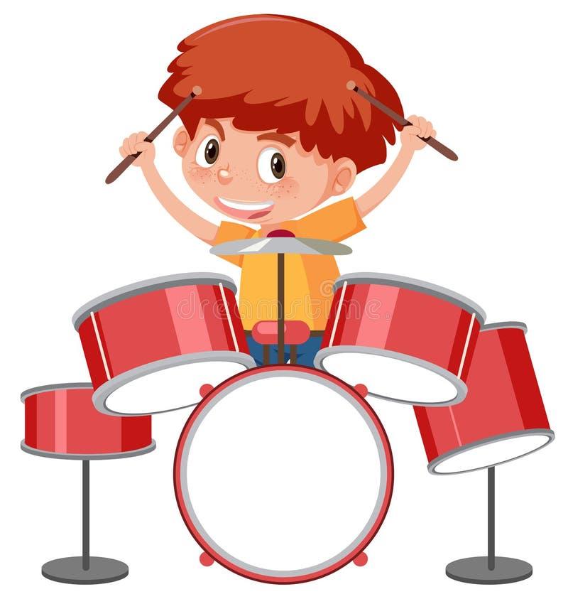Una ragazza che gioca un insieme del tamburo royalty illustrazione gratis