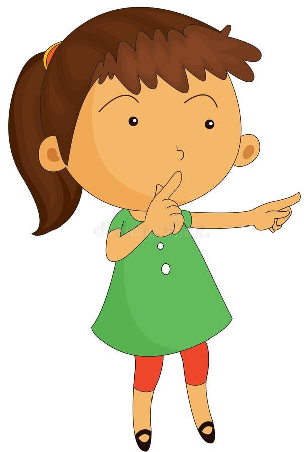 Una ragazza che mantiene silenzio illustrazione vettoriale
