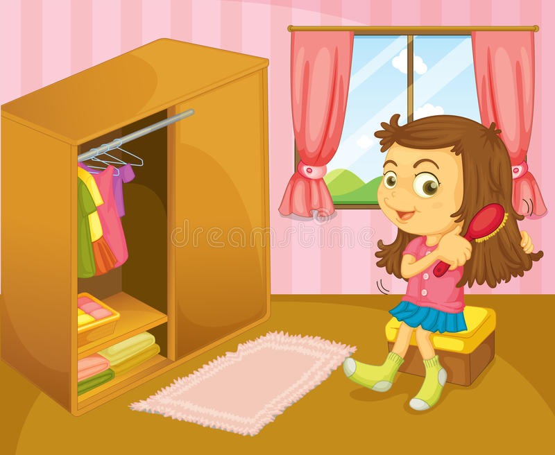 Una ragazza che spazzola i suoi capelli dentro la sua stanza illustrazione vettoriale