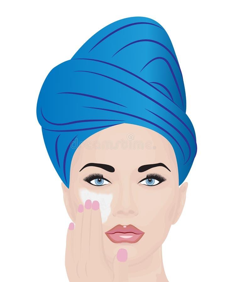 Una ragazza che usando crema facciale per lo skincare royalty illustrazione gratis