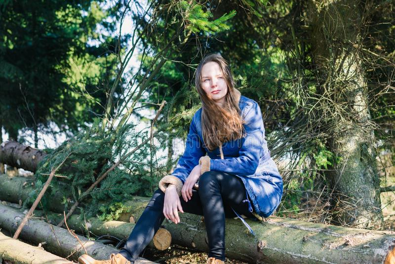 Una ragazza con capelli biondi lunghi e un rivestimento del denim si siede su una connessione una foresta di conifere verde un gi fotografia stock
