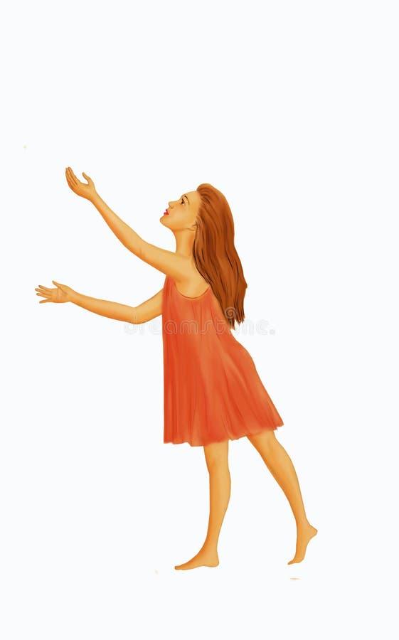 Una ragazza con capelli rossi lunghi, a piedi nudi e con le sue mani su Portare un vestito rosa sciolto Figura su una priorità ba illustrazione di stock