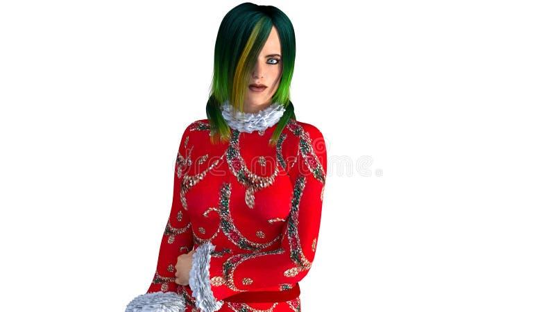 Una ragazza con capelli verdi in un maglione festivo di rosso del ` s del nuovo anno royalty illustrazione gratis