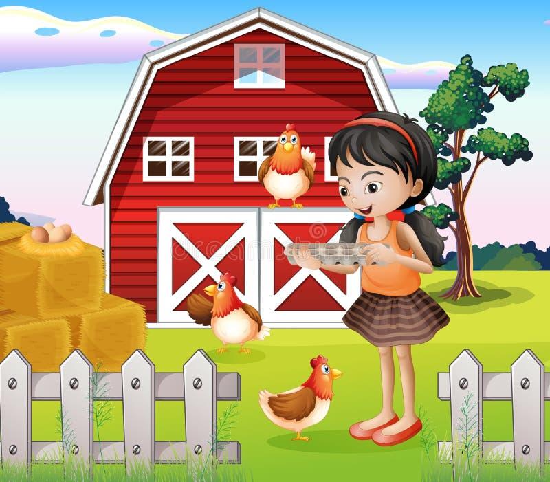 Una ragazza con i loro animali da allevamento royalty illustrazione gratis