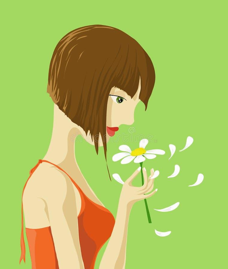 Una ragazza con il fiore illustrazione di stock