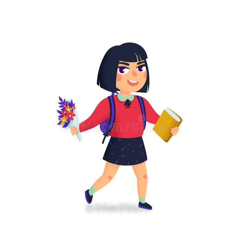 Una ragazza con il libro e lo zaino su fondo bianco Allievo felice Allievo della scuola elementare Giovane signora allegra Di nuo illustrazione vettoriale