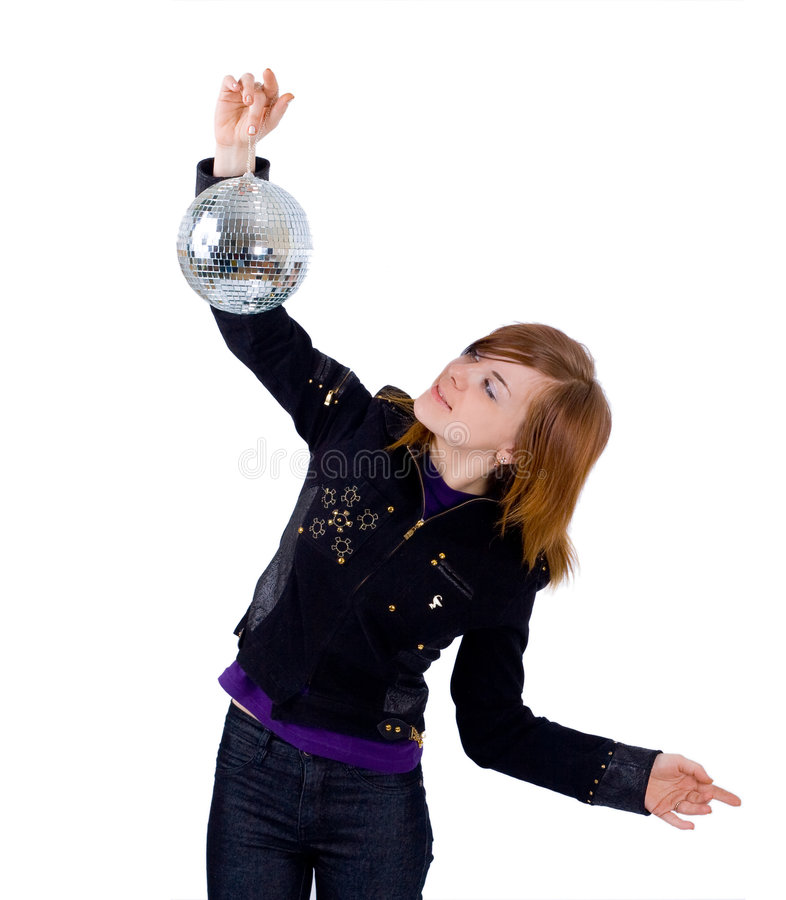Una ragazza con un glitterball fotografie stock