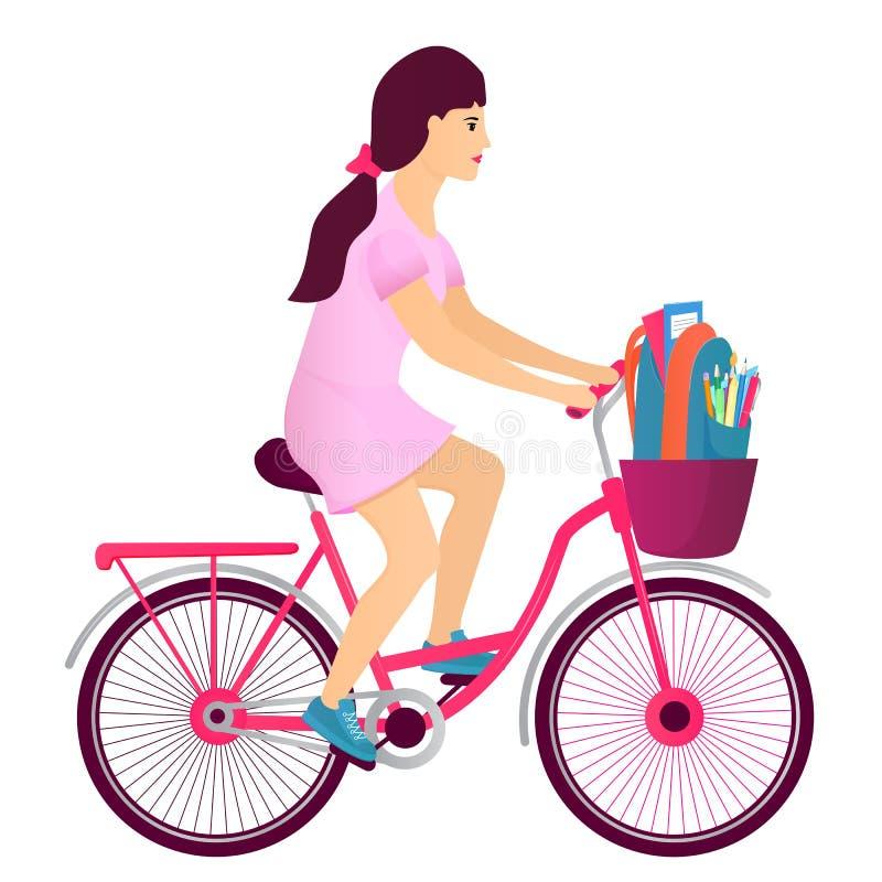 Una ragazza dell'adolescente guida una bicicletta e porta uno zaino con i rifornimenti dello studente Di nuovo al concetto del ba illustrazione di stock