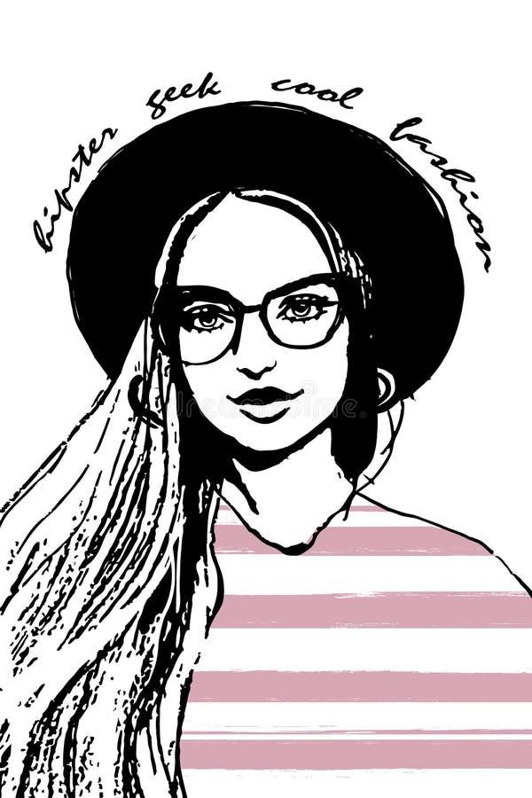 Una ragazza di hipster faccia da donna ritratto da donna di moda e una mano disegnata con un campo di testo disegnato con un cart illustrazione di stock