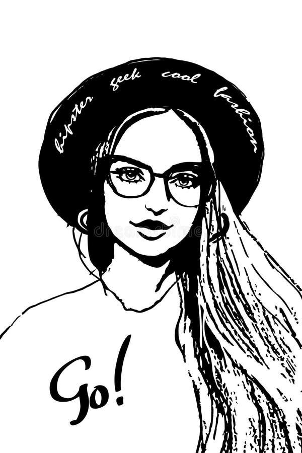 Una ragazza di hipster faccia da donna ritratto da donna di moda e una mano disegnata con un campo di testo disegnato con un cart illustrazione vettoriale