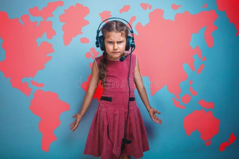 Una ragazza di sette tristi castana di aspetto dell'europeo fotografie stock libere da diritti