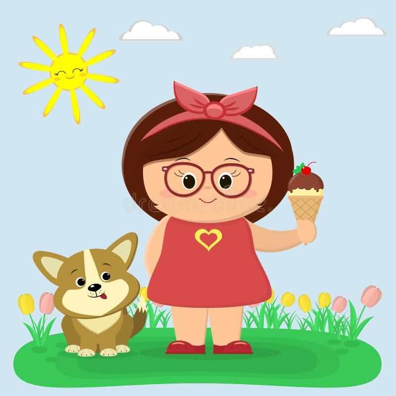 Una ragazza dolce in vestito rosso e vetri sta tenendo il gelato Un cucciolo di Cogi sta sedendosi accanto lui Radura con i tulip royalty illustrazione gratis