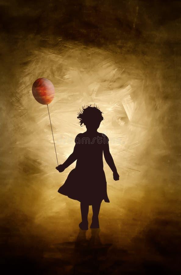 Una ragazza ed il suo aerostato. royalty illustrazione gratis