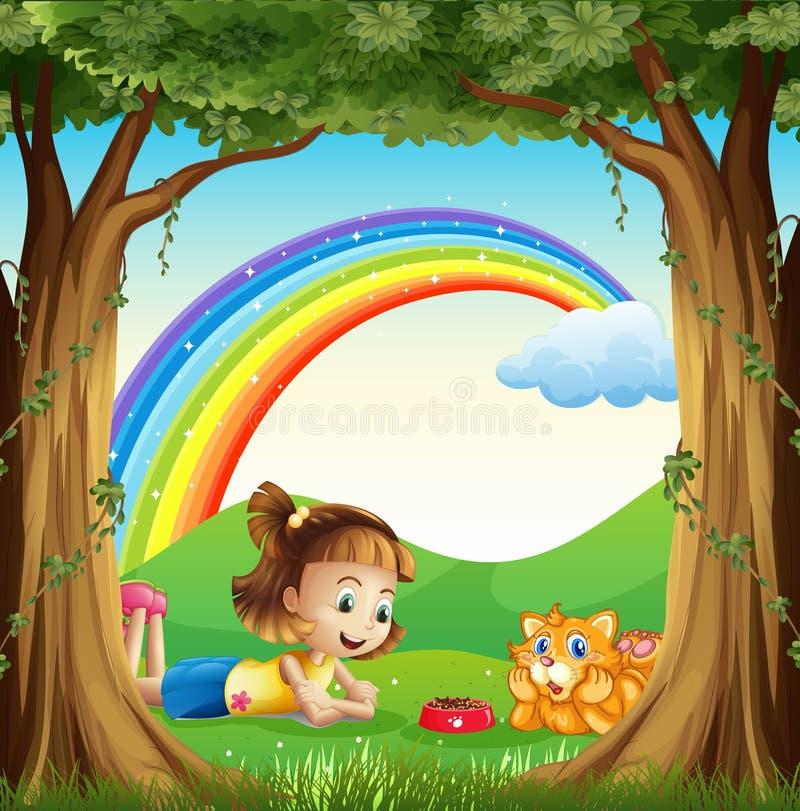 Una ragazza ed il suo animale domestico alla foresta con un arcobaleno nel cielo illustrazione di stock