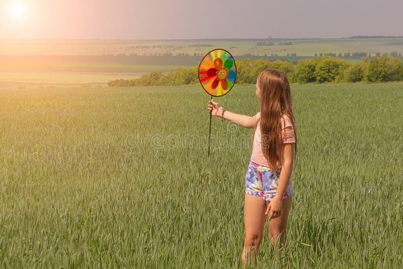 Una ragazza felice con capelli lunghi sta tenendo un giocattolo colorato del mulino a vento in sue mani immagine stock libera da diritti