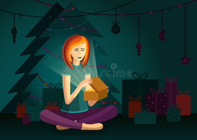 Una ragazza felice sta aprendo la scatola del regalo di Natale e sta sedendosi dall'albero di Natale illustrazione vettoriale