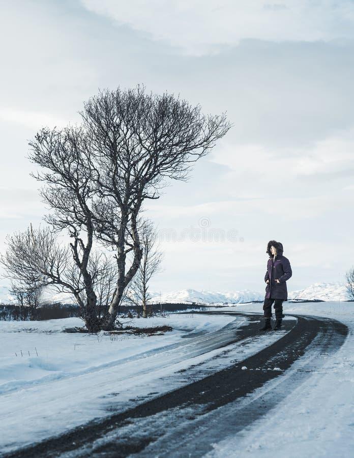 Una ragazza fuori durante l'inverno immagine stock