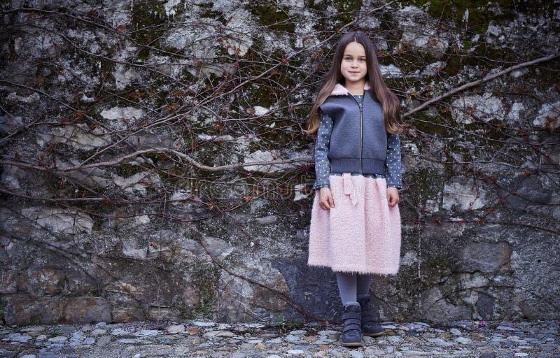 Una ragazza in gonna rosa e rivestimento grigio sul fondo congelato della roccia fotografia stock libera da diritti