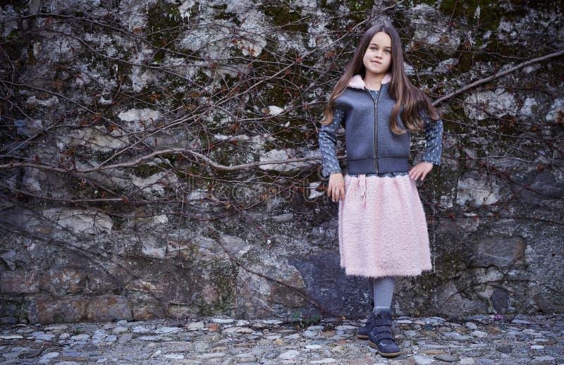Una ragazza in gonna rosa e rivestimento grigio sul fondo congelato della roccia immagini stock