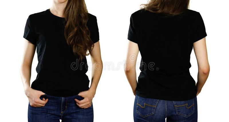 Una ragazza in una maglietta nera vuota Vista anteriore e posteriore Fine in su Isolato su priorità bassa bianca immagini stock