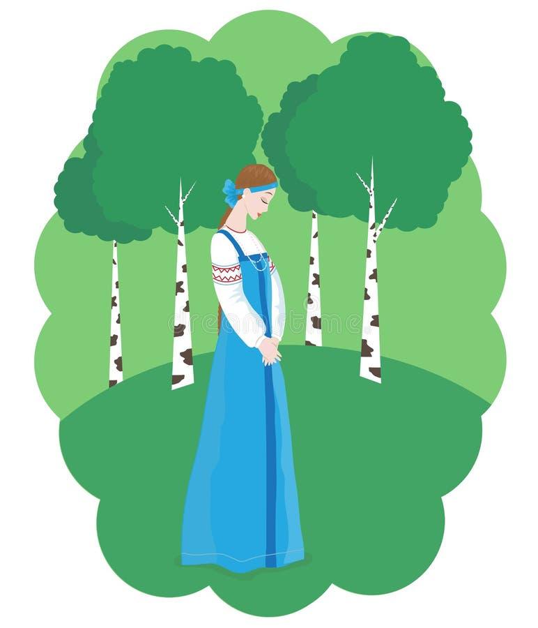Una ragazza modesta cammina fra le betulle illustrazione di stock