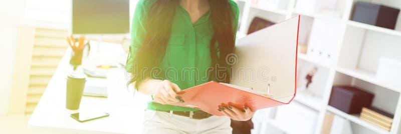 Una ragazza nell'ufficio seduto giù sulla tavola e stava tenendo una cartella con i documenti immagine stock