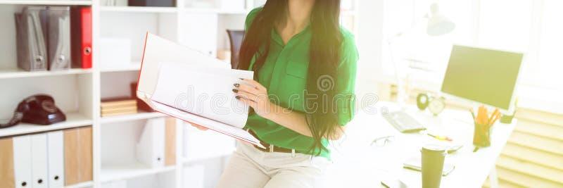 Una ragazza nell'ufficio seduto giù sulla tavola e stava tenendo una cartella con i documenti fotografia stock libera da diritti