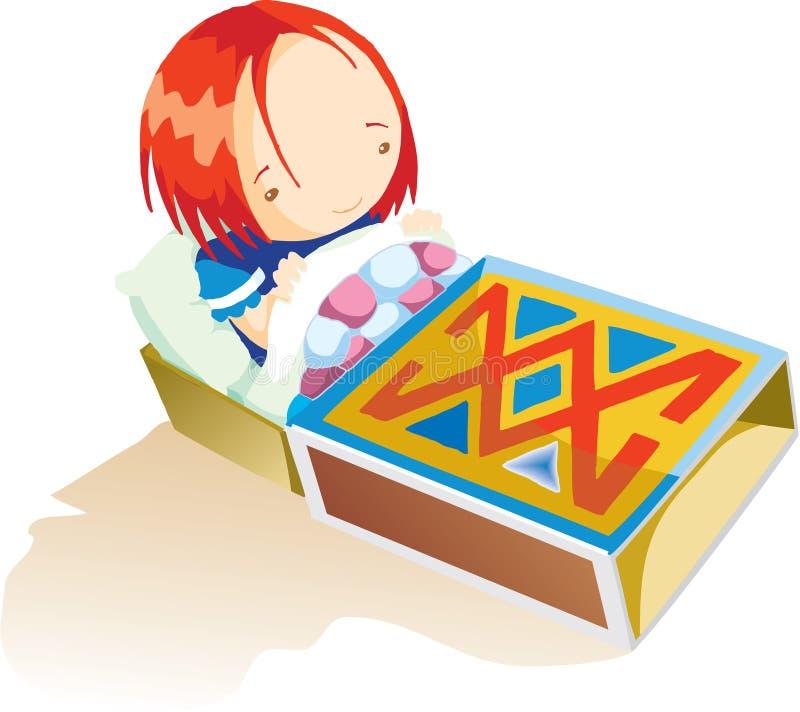 Una ragazza nella scatola di fiammiferi illustrazione vettoriale