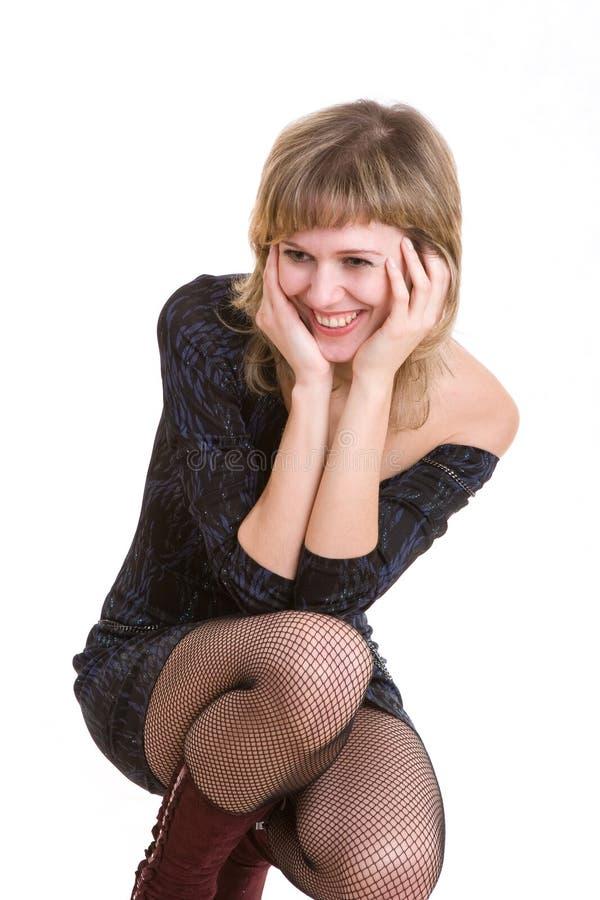 Una ragazza non può smettere di ridere fotografie stock libere da diritti