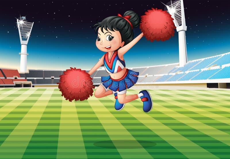 Una ragazza pon pon che esegue allo stadio illustrazione vettoriale