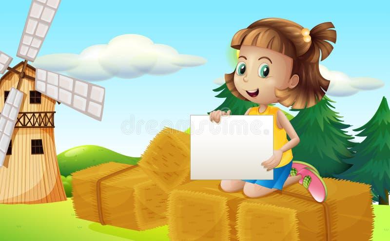 Una ragazza sopra i fieni che tengono un contrassegno vuoto royalty illustrazione gratis