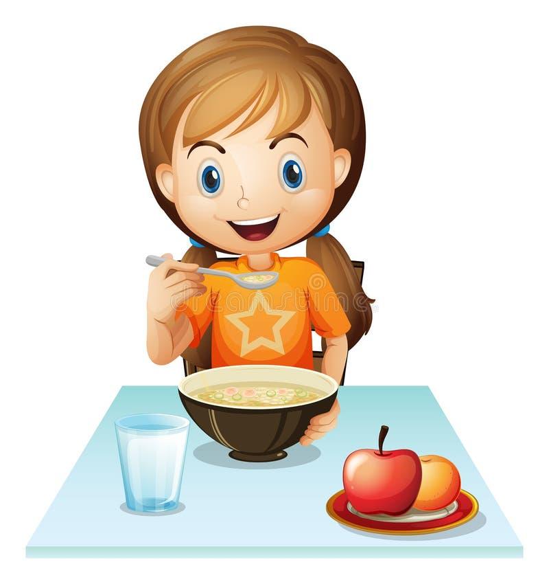 Una ragazza sorridente che mangia la sua prima colazione illustrazione di stock