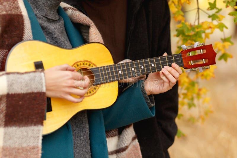 Una ragazza sta giocando sulle ukulele vicino ad un tipo del primo piano immagine stock libera da diritti