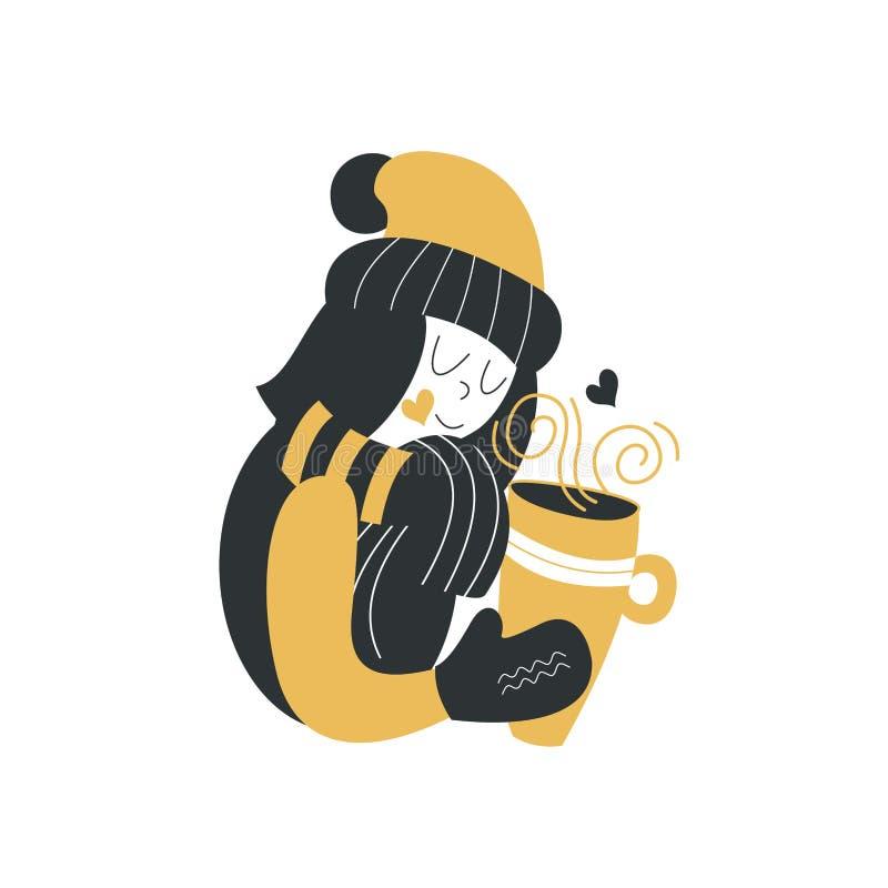 Una ragazza in un cappello ed in una sciarpa dell'inverno tiene una grande tazza di tè Giorno di inverno freddo Illustrazione di  royalty illustrazione gratis