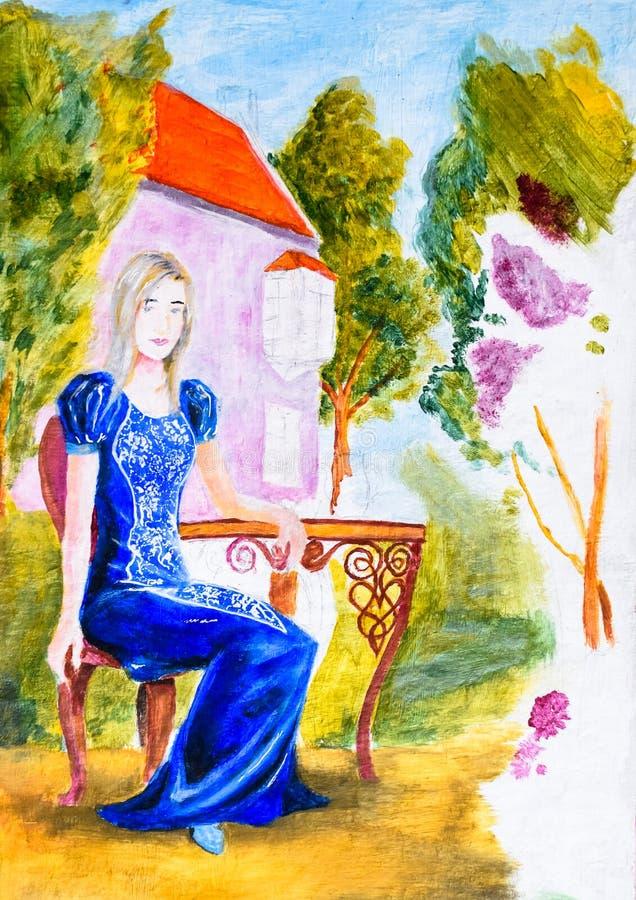 Una ragazza in un vestito blu si siede ad una tavola nel giardino di un nome ricco Pittura dell'acquerello, pittura nello stile d illustrazione vettoriale