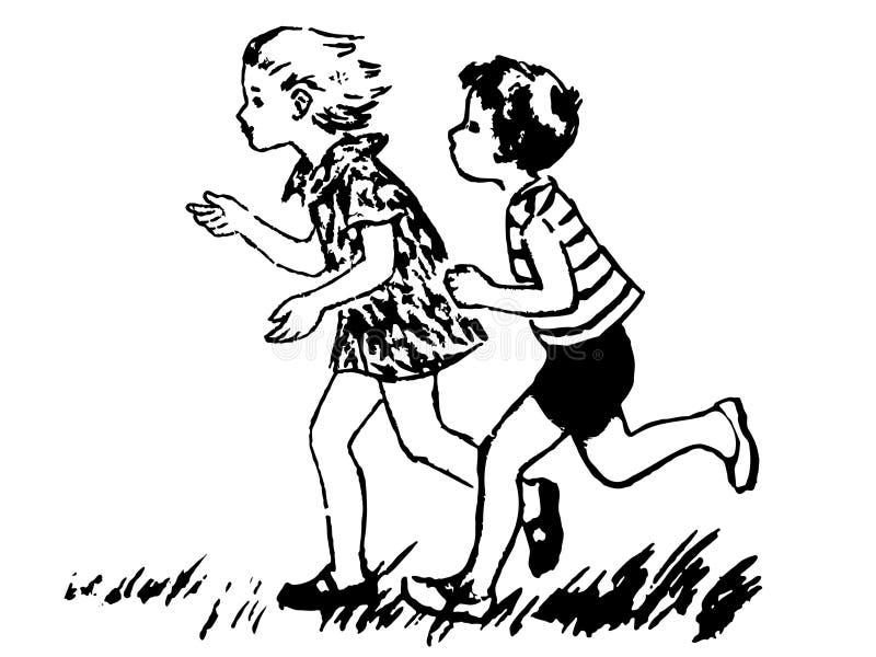Una ragazza in un vestito con capelli scorrenti ed in un ragazzo in breve e una maglietta che corre attraverso l'erba illustrazione vettoriale