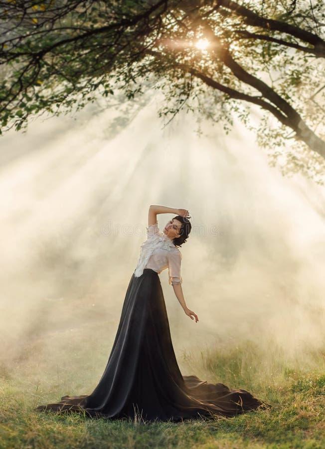 Una ragazza in un vestito d'annata fotografia stock