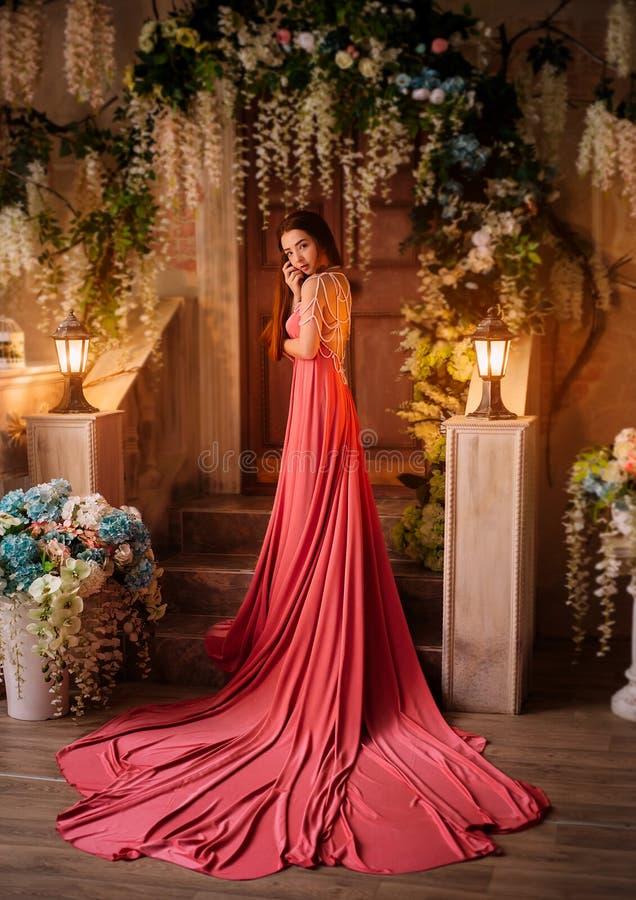Una ragazza in un vestito lussuoso immagine stock