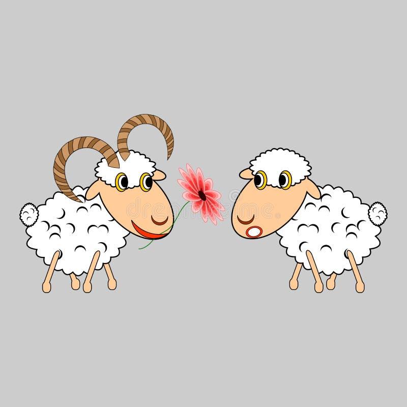 Una ram che presenta ad una pecora un fiore. Fumetto divertente i illustrazione vettoriale