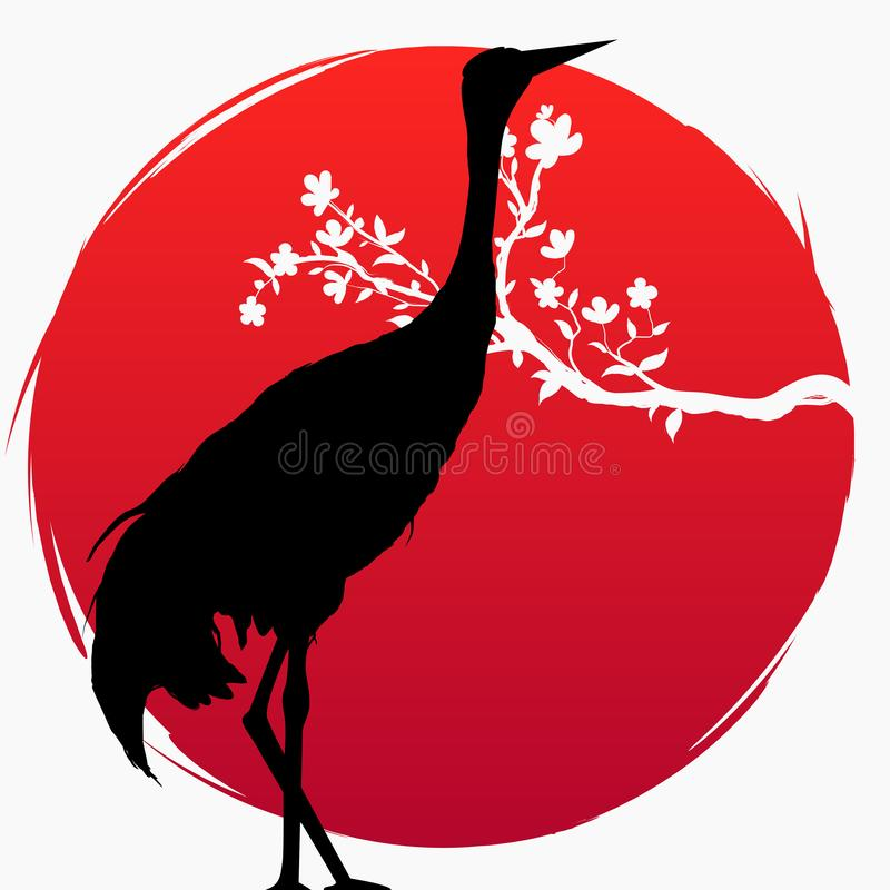 Una rama con las flores de Sakura y una grúa japonesa en el fondo del sol rojo Multi-exposición Sakura y rojo - grúa coronada stock de ilustración