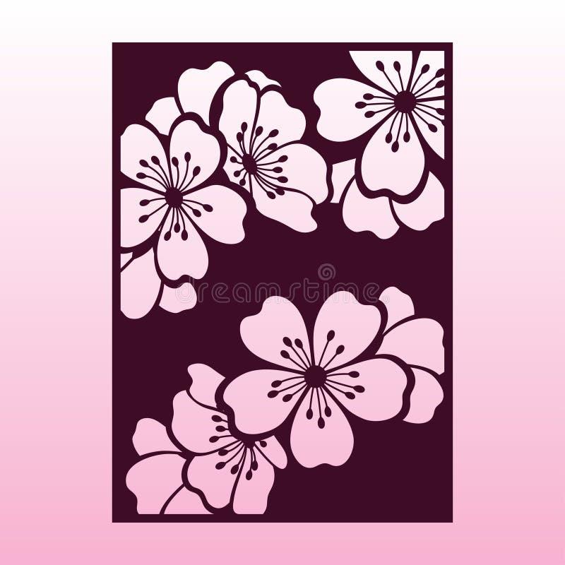 Una rama de la cereza o de los flores de Sakura Plantilla de corte del laser stock de ilustración