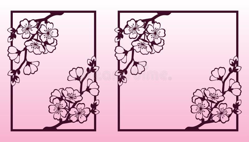 Una rama de la cereza o de los flores de Sakura Plantillas de corte del laser stock de ilustración