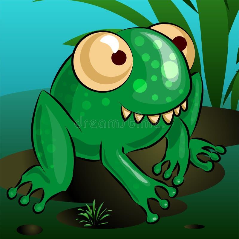 Una rana allegra del fumetto sta sedendosi su una palude illustrazione di stock