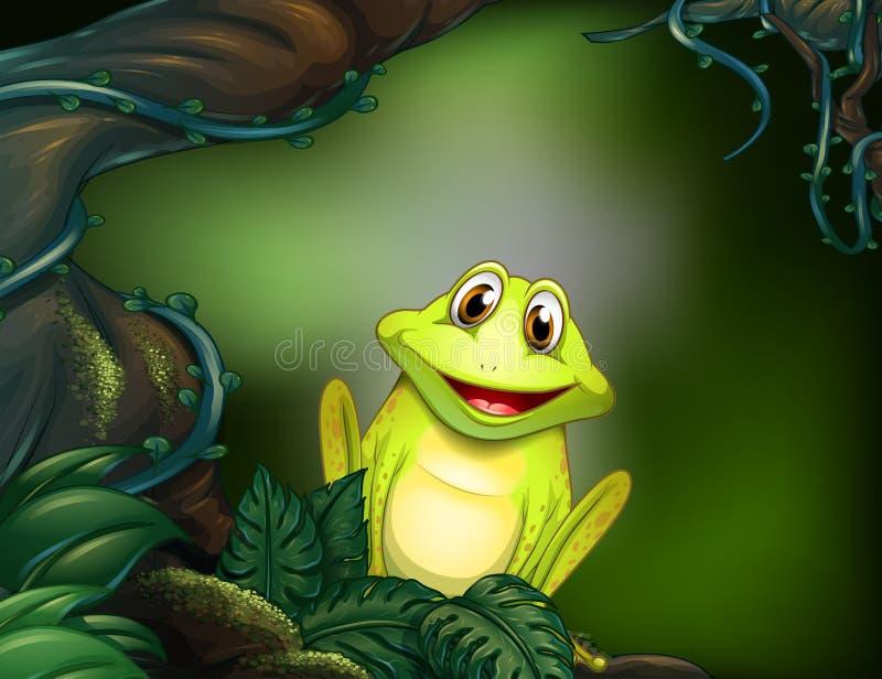 Una rana en el bosque ilustración del vector