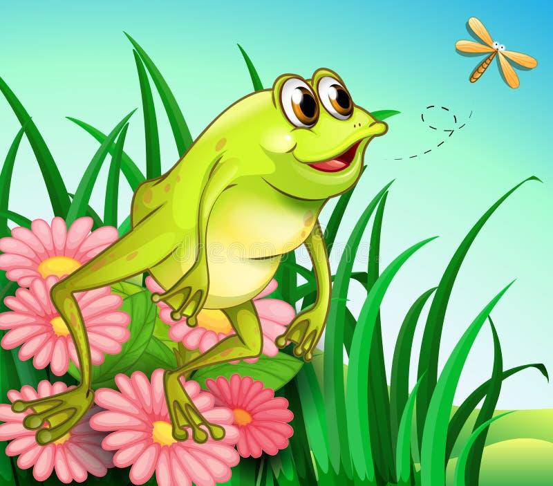 Una rana hambrienta en el jardín ilustración del vector