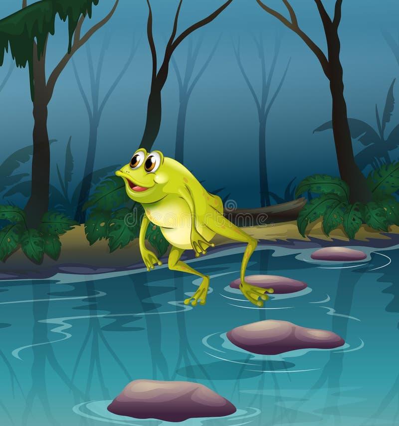 Una rana que salta en la charca dentro del bosque ilustración del vector