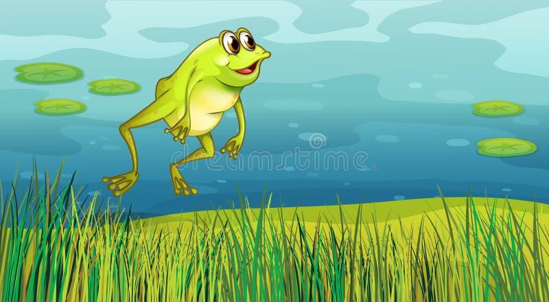 Una rana que salta en la hierba libre illustration