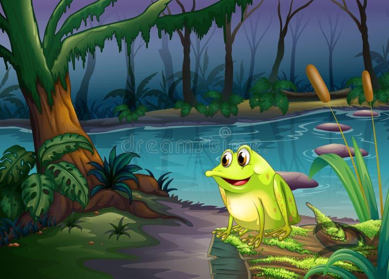 Una rana sobre un tronco con las algas libre illustration