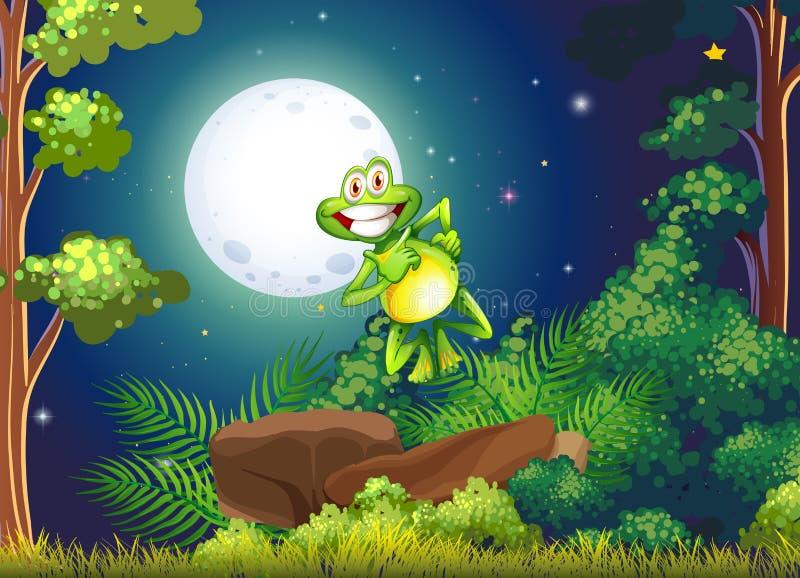 Una rana sonriente en el bosque libre illustration